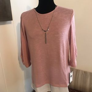 BCX Dressy long sleeve blouse with necklace